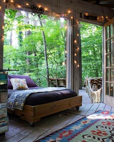 Amazing boho sleeping porch. #sunroom #bohemian Instagram photo by @bohoside •