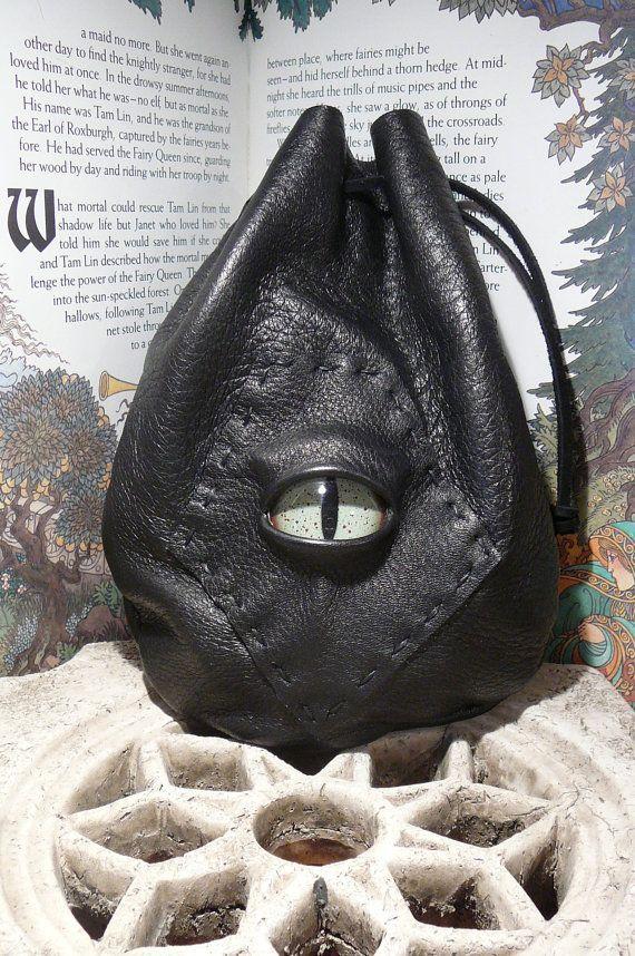 Medium Black leather bag with Green Dragon by AbbotsHollowStudios, $29.95: