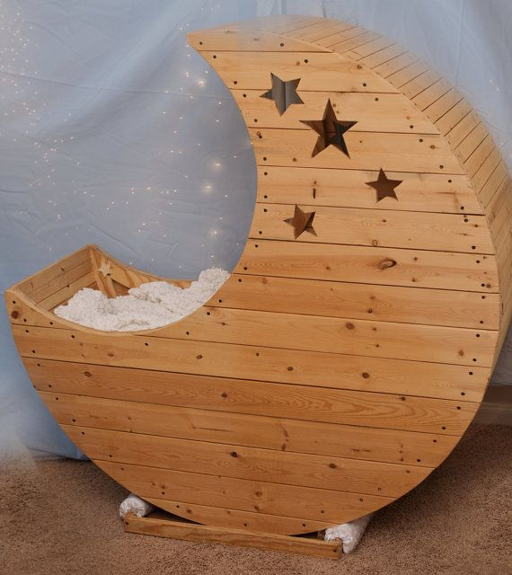 Hand Crafted Baby Cradle  Crescent Moon by ResuscitationDesigns, $700.00