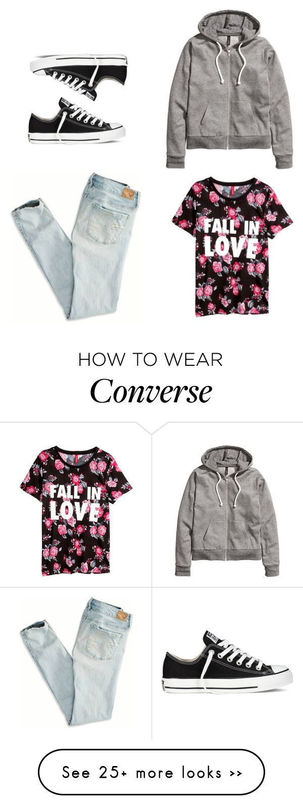 """plus three"" by chicapeep on Polyvore featuring American Eagle Outfitters, H&M and Converse"