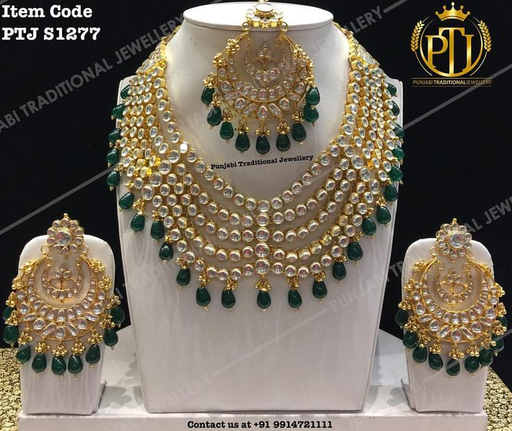 "Punjabi Traditional ""Gold Plated Kundan Emerald Droplet Set with Tika""(Next to…"