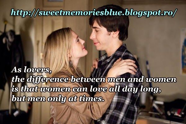 sweet memories: As lovers, the difference between men and women is...