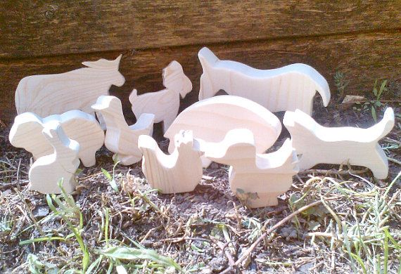Wooden Farm Animals - Natural Wooden Toys in Waldorf Style Set of Ten Animals