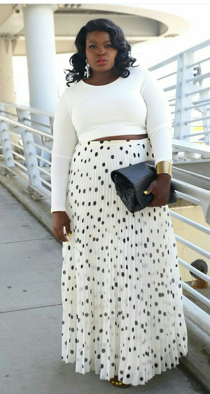 White long-sleeved crop top combined to a pleated, polka-dotted maxi skirt | Plu... 2