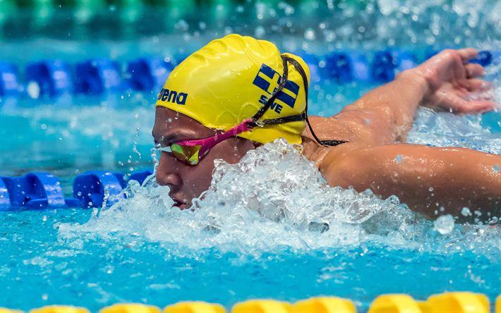 Hämta bilder Sara Junevik, simning, Svenska simmare, pool, Vm, Sverige