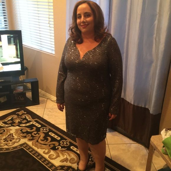 Sparkly Grey Dress Sparkly Grey Dress...Color described as Gunmetal....Has Glitter and Sequins Sparkle Marina Dresses Long Sleeve