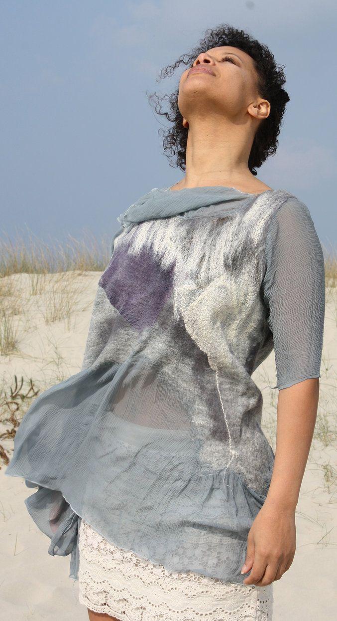 Farb-und Stilberatung mit www.farben-reich.com - Françoise Christien | Artiste textile feutrière | Tunique soie et feutre