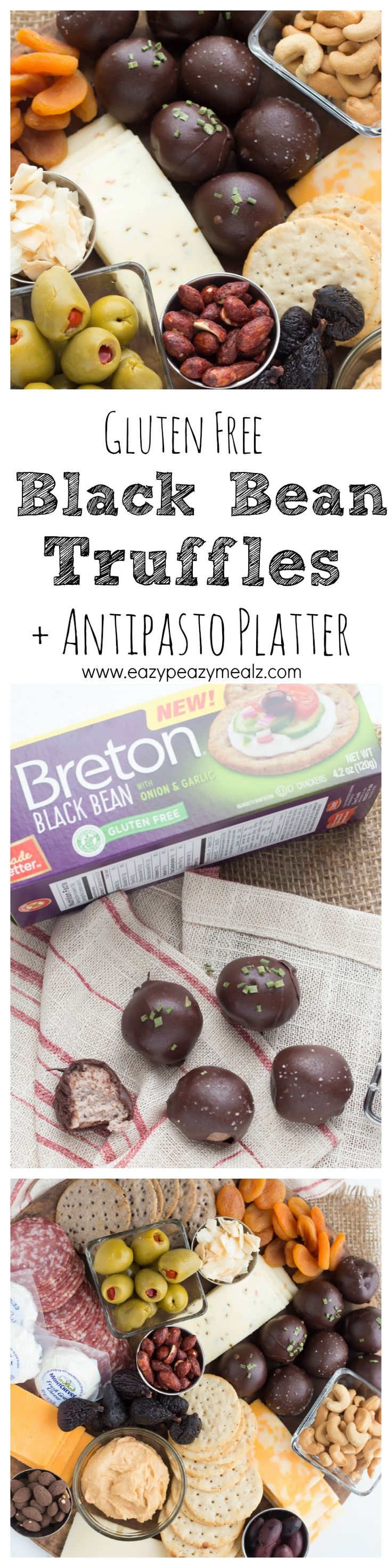 A savory black bean truffle made with gluten free Breton crackers; a unique and fun way to spice up an antipasto platter. #BretonGlutenFree #ad - Eazy Peazy Mealz