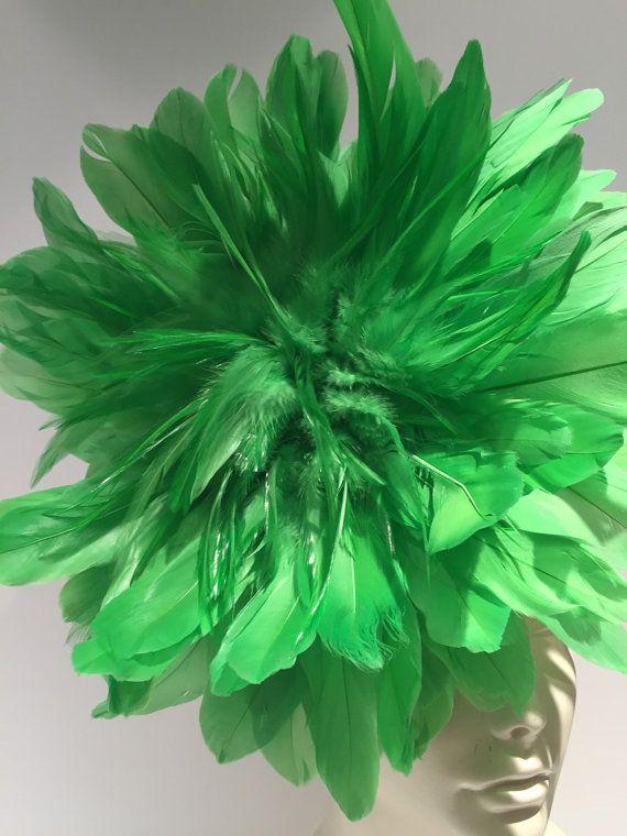 Fascinator de cal diadema de plumas verdes Made in USA