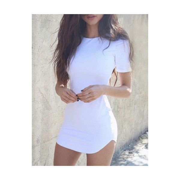 Basic Style Short Sleeve Curved Hem Bodycon Mini T-shirt Dress- Cheap... ($9.90) ❤ liked on Polyvore featuring dresses, bodycon dress, bodycon mini dress, curved hem bodycon dress, body con dresses and short sleeve t shirt dress