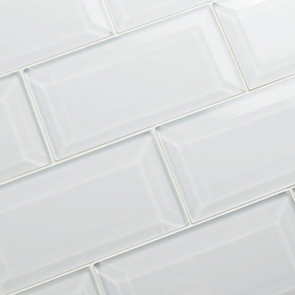 SomerTile 3x6-inch Reflections Beveled Ice White Glass Wall Tile (Pack of 8)