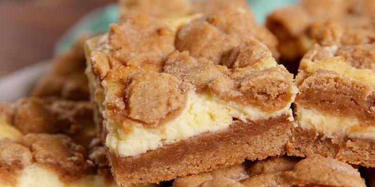 Snickerdoodle Cheesecake Bars - cream cheese, sugar, eggs, vanilla extract, salt, flour, salt, baking soda, butter, brown sugar, ground cinnamon, cinnamon sugar