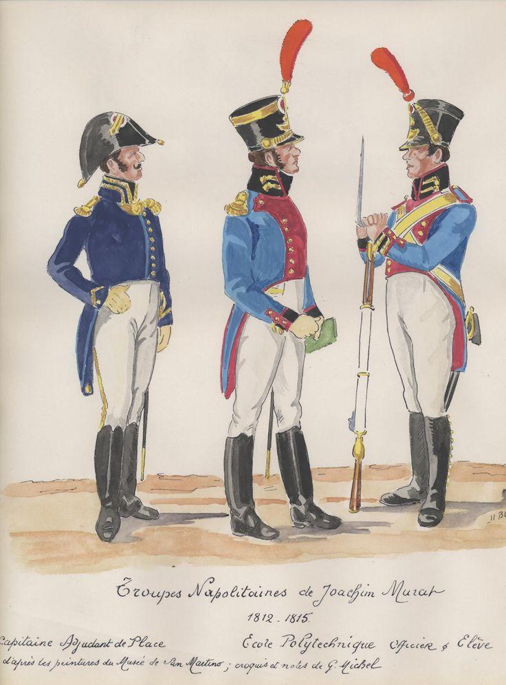 Naples; troupes Napolitanes.1812-15 Capitano adjudant de Place,  officier+eleve de politecnico.