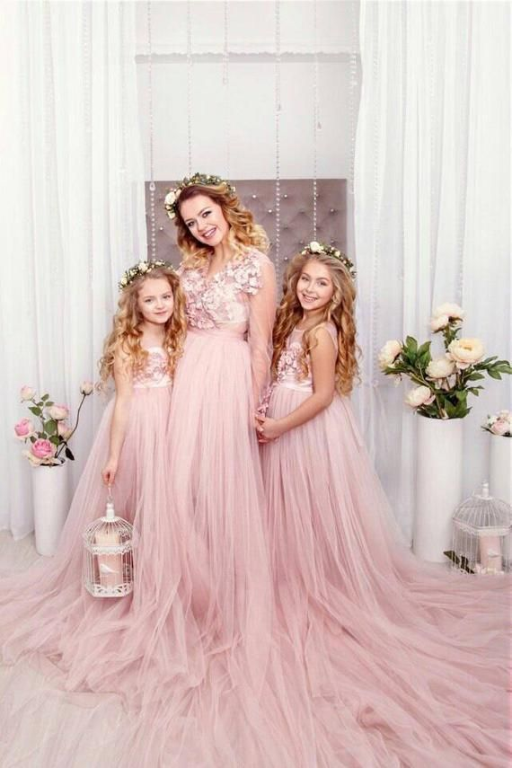 08064375bbdf Pink blush Mother daughter matching train lace dress for photoshoot ...