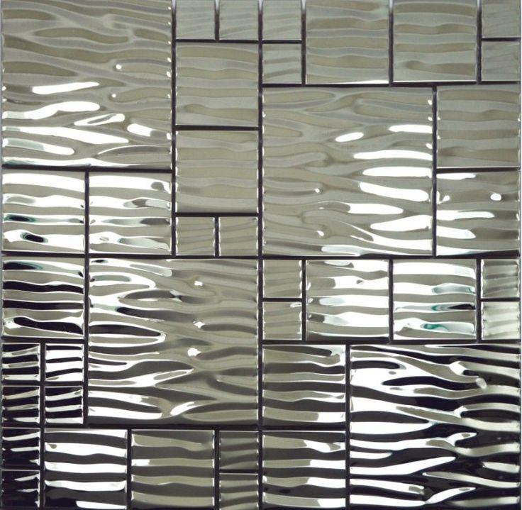 Silver metal mosaic stainless steel kitchen wall tile backsplash SMMT013 3D waved mosaic tiles metallic mosaic tiles