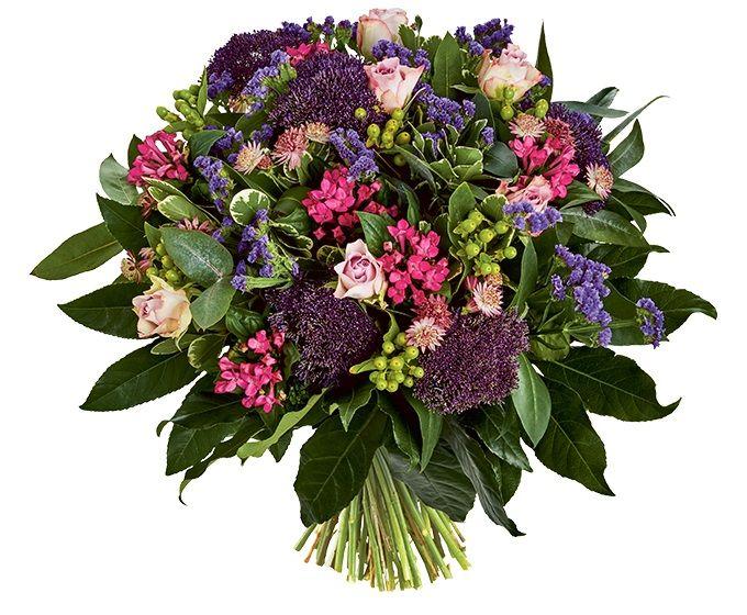 Bloemen van DEEN worden gratis thuis bezorgd, komen dagelijks vers van de veiling en worden met de hand gebonden door professionele bloemisten. Zeker 1 week vaasgarantie! Dit boeket bevat: •Roos paars •Statice paars •Bouvardia roze •Hypericum •Trachelium paars •Astrantia •Pittosporum •Eucalyptus •Fatsia