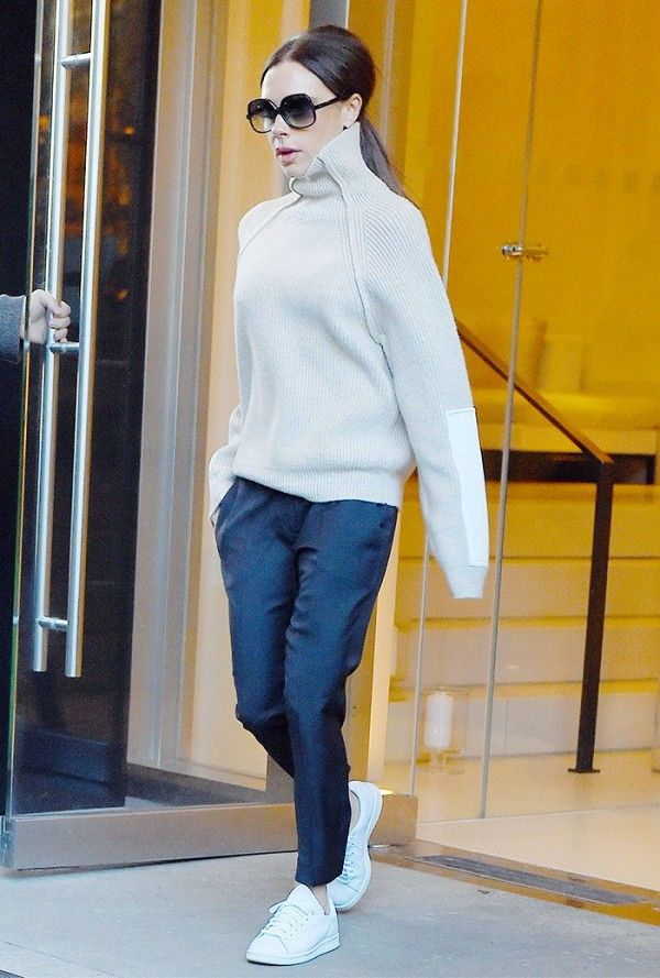 Victoria Beckham's minimalist separates are the perfect partner to stark white sneakers.