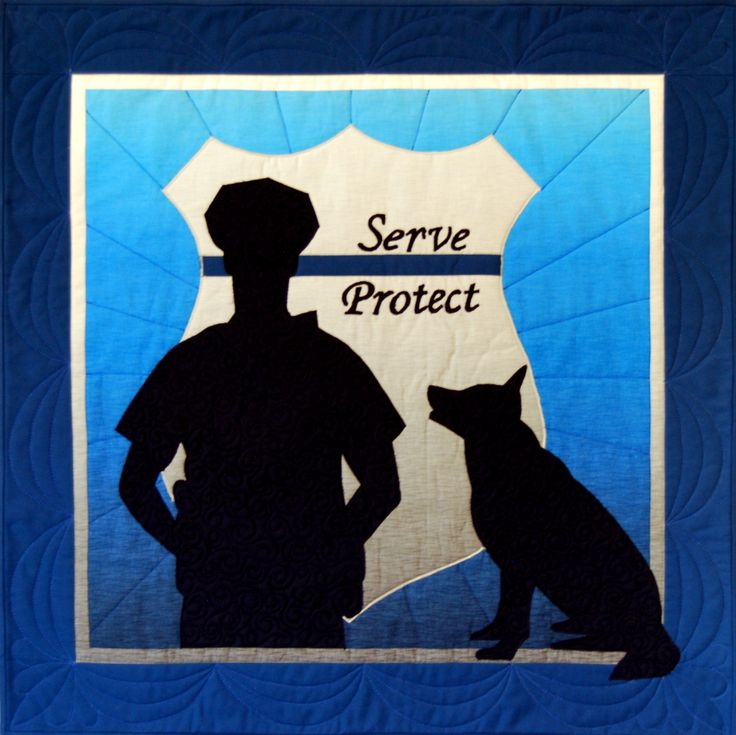 "Now is a great time to honor our men and women in blue who bravely serve and protect. Pattern is for 26"" x 26"" wall hanging. http://www.happystashquilts.com/…/n…/products/police-officer"