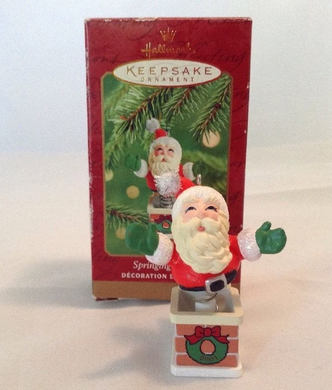 Springing Santa Jack In The Box Hallmark Christmas Ornament 2001 Up The  Chimney | eBay - Springing Santa Jack In The Box Hallmark Christmas Ornament 2001 Up