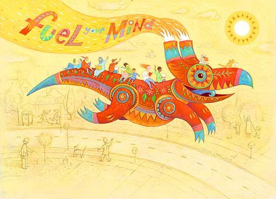 2008 Book Week Poster for the Children's Book Council of Australia by Shaun Tan.   Inspired on fusion of Mexican Aztecs and Pre-Columbian design, and contemporary folk art culture (from murals to pinatas).