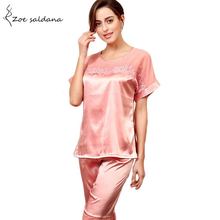 Zoe Saldana 2017 Womens Silk Pajamas Sets Summer Nightgown Embroidered Lace Satin Pyjamas Sleepwear Loungewear  #Affiliate