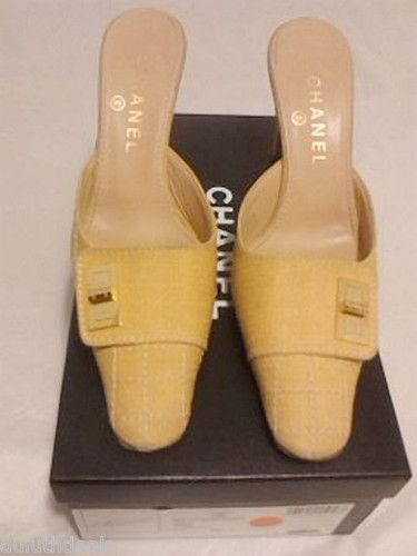 """Authentic Chanel Light Yellow Mule Shoes Slides 7.5B, 3 5"""" Heels"""