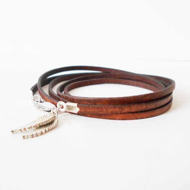 skinny brown leather wrap bracelet, unisex angel wings cuff, boho chic rocker style, mens leather bracelet, gift for him, gift for her by jcudesigns on Etsy