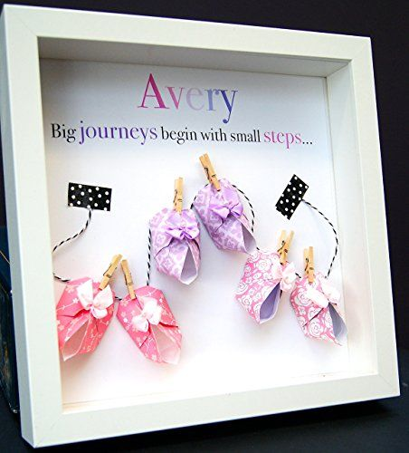 <3 Handmade Nursery Personalized Name Paper Origami Shadowbox Frame with Baby…