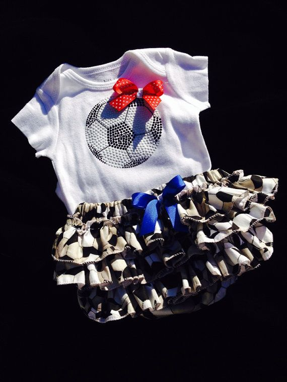 Baby girl soccer onesie/matching ruffled by darlingdivacreations, $30.00 my little girl will need this to cheer on sadie!!