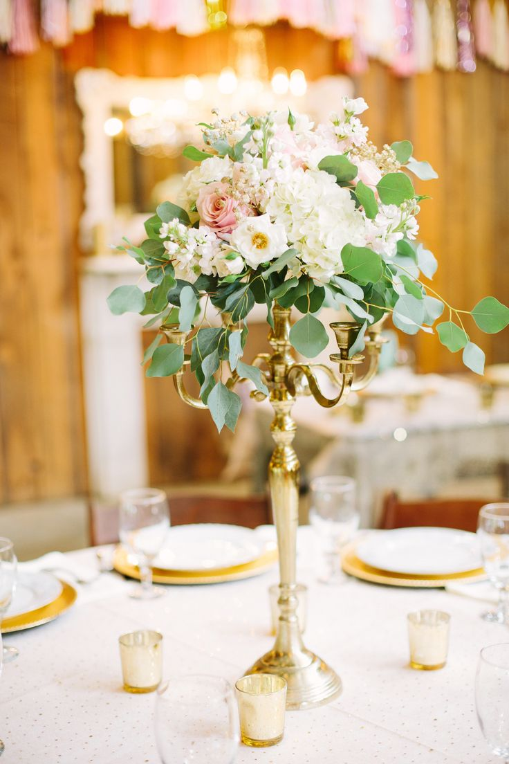 Best 25 candelabra flowers ideas on pinterest candelabra gold candelabra centerpiece with blush and ivory flowers more gold wedding centerpieceswedding junglespirit Images