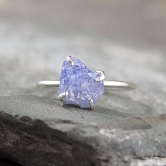 Blue Sapphire RingRaw Uncut Blue SapphireSterling by ASecondTime, $225.00