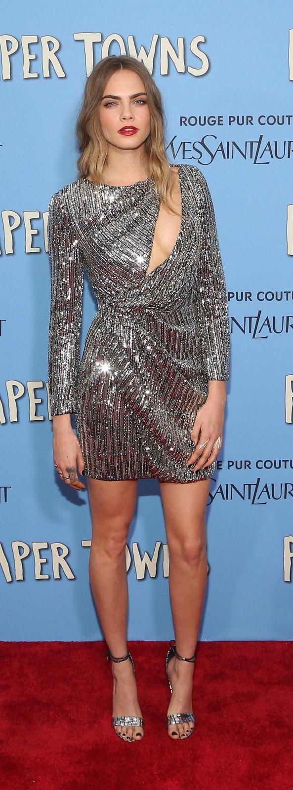 Cara Delevingne in Saint Laurent, Jennifer Fisher Jewelry, and Alejandra G. shoes