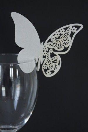 Bordkort Sommerfugl L Hvit