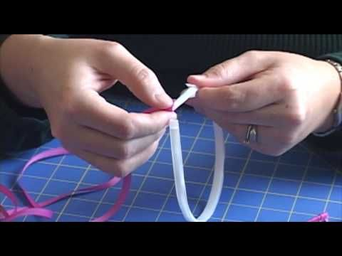 """Learn how to make a ribbon wrapped headband that can be worn plain or with a bow or flower attached.  This video shows a 1/4"""" (7mm) white plastic headband wrapped with 1/4"""" grosgrain ribbon.  You can also use a metal headband or wider ribbon. The plastic headbands used in this project are available at http://www.hair-hardware.com/plastic-headban..."""