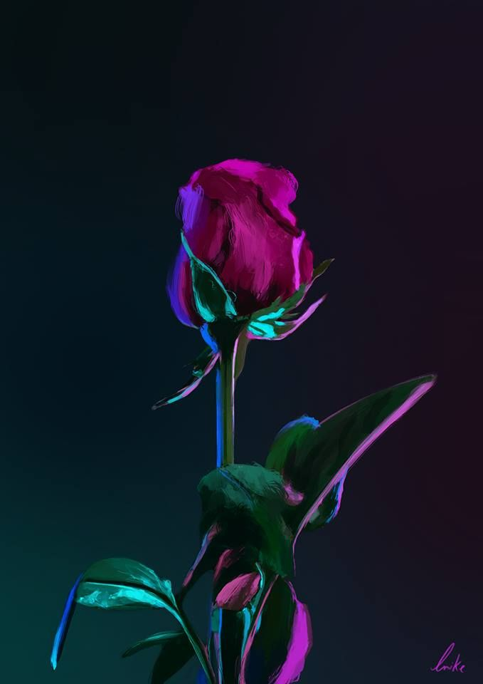 Neon Rose Digital Daily Speed Painting Digital Painting With Photoshop Speed Painting Digital Art Digita Neon Art Flower Art Drawing Wallpaper Iphone Neon Coolest neon flower wallpaper