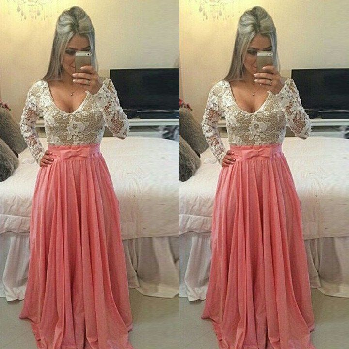Elegant pattern splicing dress,with lace white top and pink shirt, there is a pink bowknot at the waist,just like illusion princess dress,wear this long dress, you will be the centre of the prom party