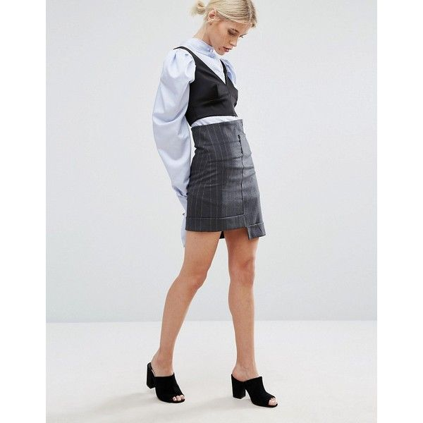 Zacro Mini Skirt With Step Hem In Pinstripe (£13) ❤ liked on Polyvore featuring skirts, mini skirts, black, high waisted mini skirt, pinstripe mini skirt, dungaree skirt, pinstripe skirt and high waisted short skirts