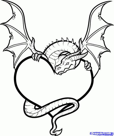 Broken Heart Drawings With Dragons Draw A Dragon Heart Dragon And Heart Step By Step