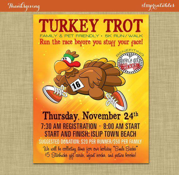 Turkey Trot 5k 10k Marathon Race Poster Editable Flyer Etsy In 2020 Turkey Trot Flyer Trot