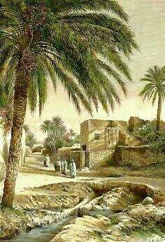 Peinture d'Algérie - Biskra , Vue Prise Dans Une Rue. Gravure sur bois, gravée par E. Meunier d´après A. de Bar 1886. Aquarellée à la main.