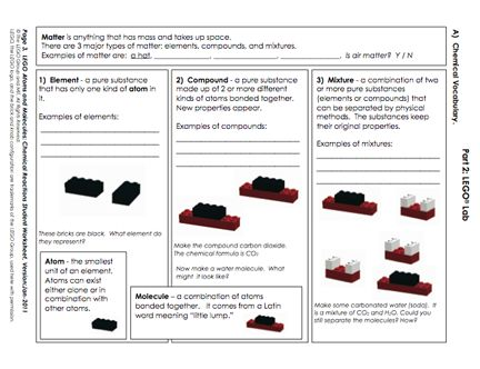 Here's a terrific lesson on using LEGO blocks to understand atoms and molecules, as well as chemical reactions!