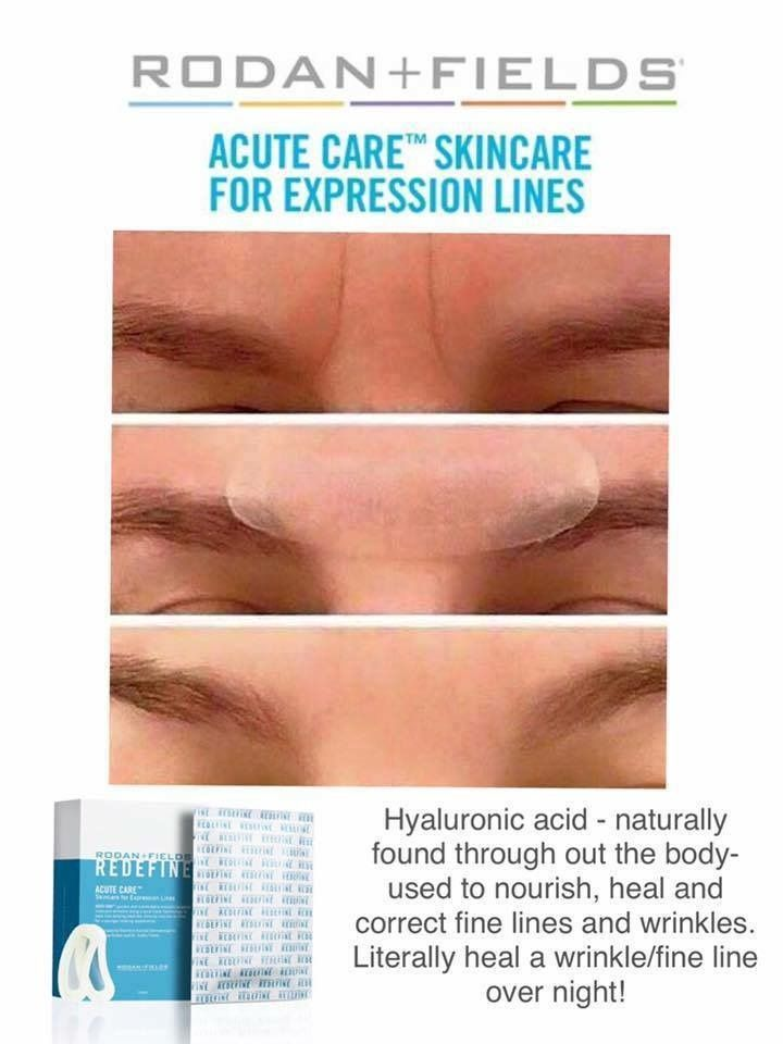 These cool little patches perform much like injectable fillers but there is no needle required! Even if you do get botox or fillers, you need ongoing treatment with premium skin care. Hyaluronic acid - when applied topically nourishes and heals fine lines and wrinkles to correct and eliminate the depleted area. R+F has the patent on these Acute Care Strips! Wear them while you sleep and wake up younger! ‪#‎rodanandfields‬ Message me!