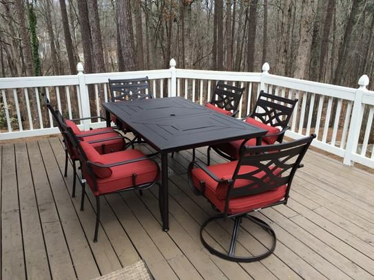 Hampton Bay Middletown 7 Piece Patio Dining Set With Dragonfruit Cushions  D11200 7PC At