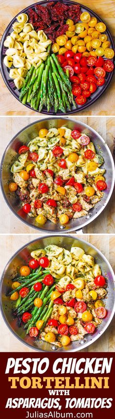 One-Pan Pesto Chicken, Tortellini, and Veggies, Asparagus, Tomatoes – healthy, refreshing, Mediterranean-style dinner. Spring and Summer Dinner Recipe!