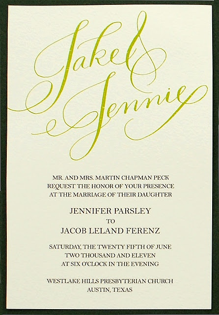 Custom Calligraphy Wedding Invitation- www.invitingaffairs.com