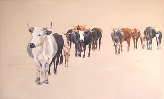 ORIGINAL SOUTH AFRICAN ART BY ERNA WADE: NGUNI HERD - finished at last!