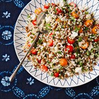Lentil-Couscous Salad - 1 6 oz box  israeli couscous, cooked - 1 15 oz can lentils - 1 cup halved cherry tomatoes - 1/2 cup chopped parsley - 1 shallot, chopped - 4 oz goat cheese, crumbled - 6 Tbsp EVOO - 3 Tbsp fresh lemon juice. In large bowl, mix couscous, lentils, tomatoes, parsley, shallot, and cheese. Toss with EVOO and lemon juice.