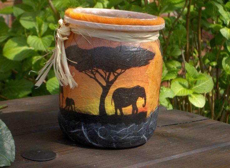 Afrika Leuchtglas,Elefanten, Savanne,Sonnenuntergang, Windlicht, m. XXL Teelicht