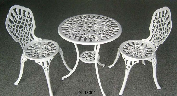 Small Bistro Table And Chairs Wrought Iron White Cast