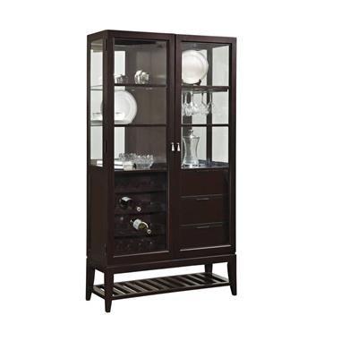 Dark Wood Gl Metal Curio W Adjule Shelves By Ski Furniture